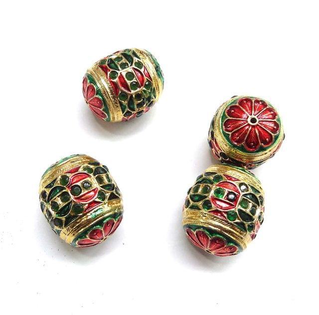 Green Jadau Meenakari Dholk Beads For Jewellery Making, 4pcs, 22mm