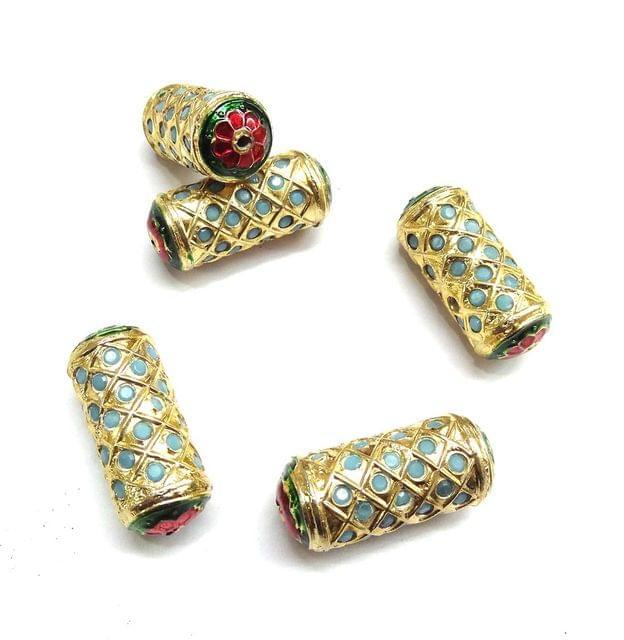 Blue Jadau Cylindrical Meenakari Beads For Jewellery Making, 5pcs, 32x13mm
