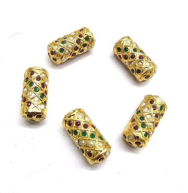 Multi Jadau Cylindrical Meenakari Beads For Jewellery Making, 4pcs, 28x12mm