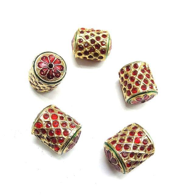 Red Jadau Cylindrical Meenakari Beads For Jewellery Making, 4pcs, 21x16mm