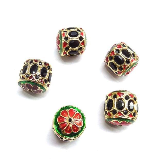 Black Jadau Dholak Meenakari Beads For Jewellery Making, 4pcs, 20x19mm