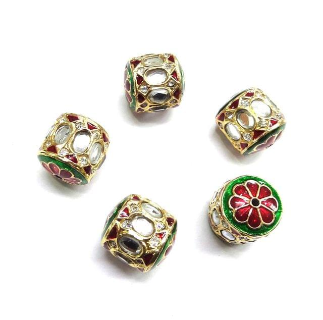 Kundan Jadau Dholak Meenakari Beads For Jewellery Making, 4pcs, 20x19mm