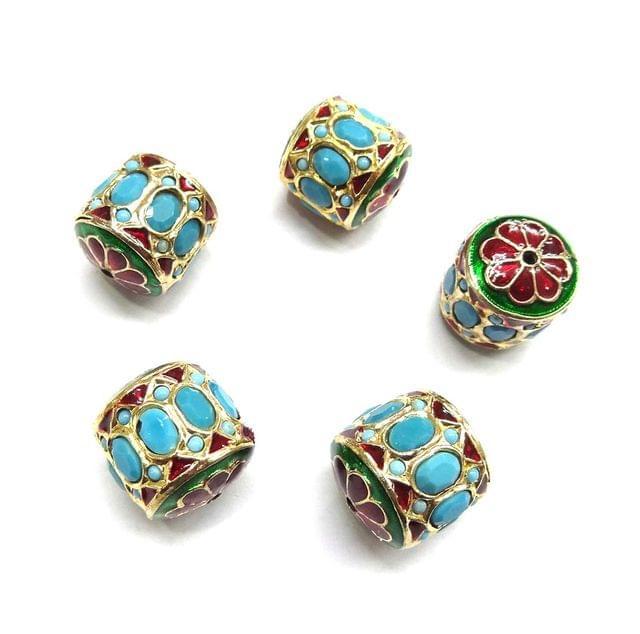 Turquoise Jadau Dholak Meenakari Beads For Jewellery Making, 4pcs, 20x19mm