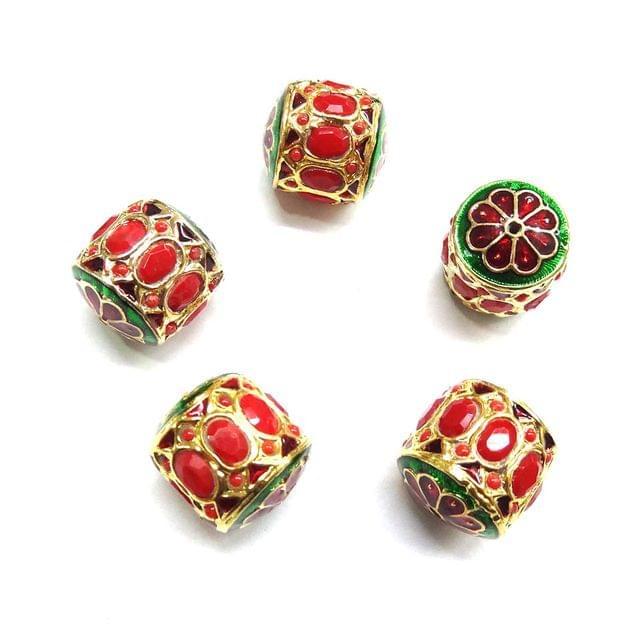 Red Jadau Dholak Meenakari Beads For Jewellery Making, 4pcs, 20x19mm