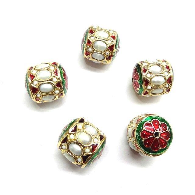 Moti Jadau Dholak Meenakari Beads For Jewellery Making, 4pcs, 20x19mm