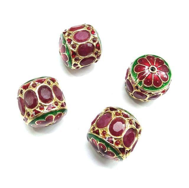Red Jadau Dholak Meenakari Beads For Jewellery Making, 3pcs, 23x22mm