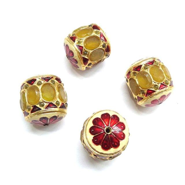 Yellow Jadau Dholak Meenakari Beads For Jewellery Making, 3pcs, 25x22mm