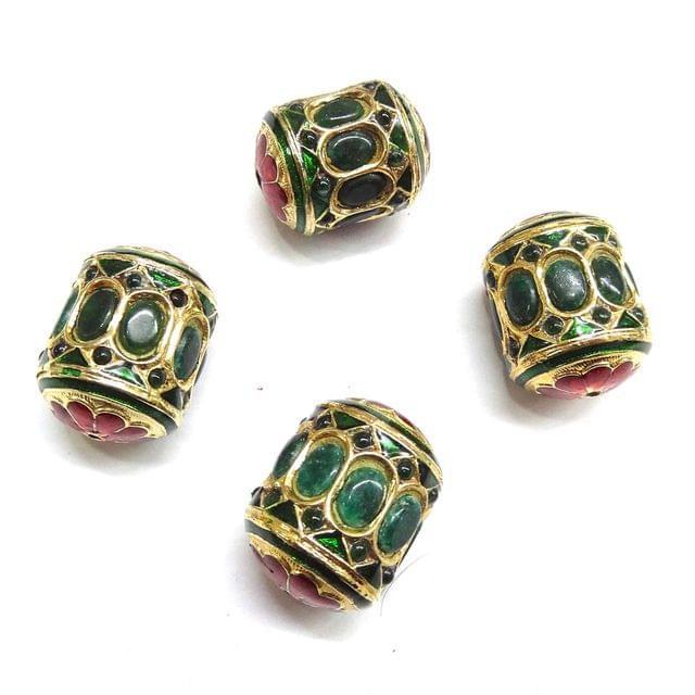 Green Jadau Dholak Meenakari Beads For Jewellery Making, 3pcs, 25x19mm