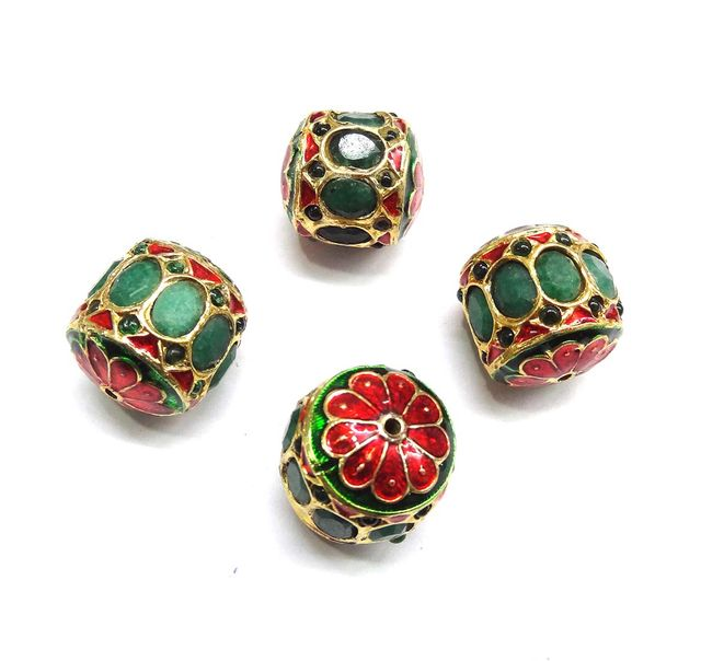 Green Jadau Dholak Meenakari Beads For Jewellery Making, 3pcs, 24x22mm