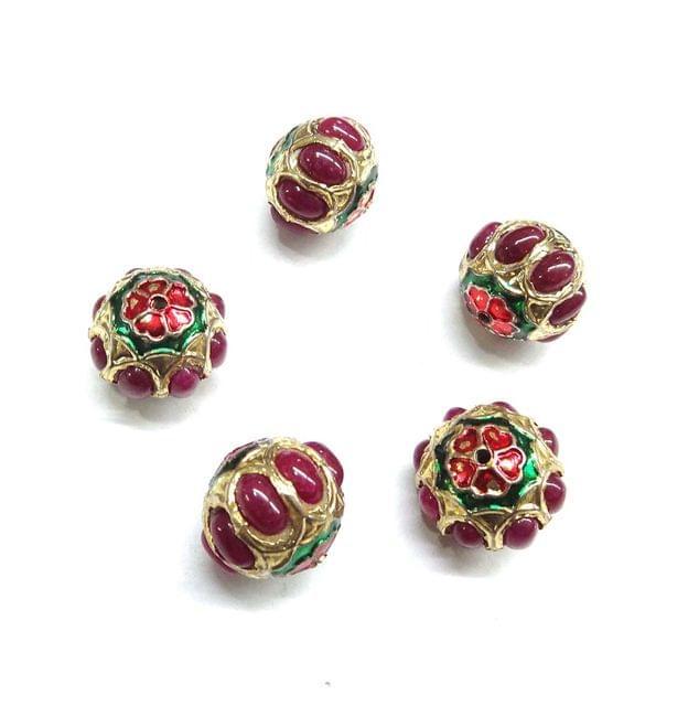 Red Jadau Small Meenakari Beads For Jewellery Making, 10pcs, 13x15mm