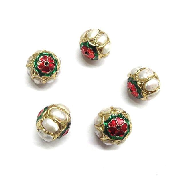Moti Jadau Small Meenakari Beads For Jewellery Making, 5pcs, 13x15mm
