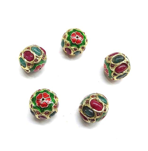 Multi Jadau Small Meenakari Beads For Jewellery Making, 10pcs, 13x15mm