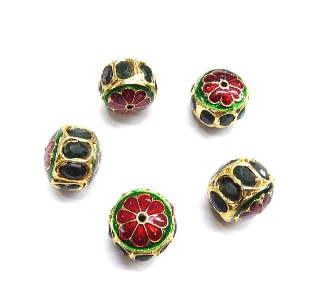 Green Jadau Small Meenakari Beads For Jewellery Making, 4pcs, 15x17mm