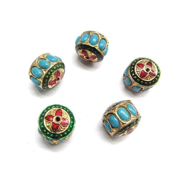 Turquoise Jadau Small Meenakari Beads For Jewellery Making, 4pcs, 15x17mm