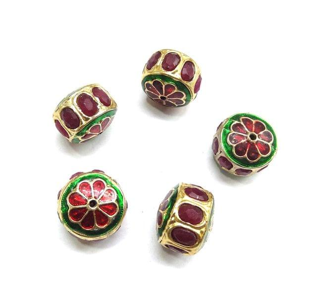 Red Jadau Small Meenakari Beads For Jewellery Making, 4pcs, 15x17mm