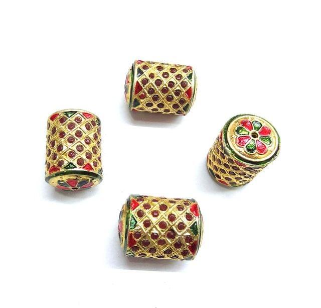 Red Jadau Dholak Meenakari Beads For Jewellery Making, 3pcs, 29x20mm