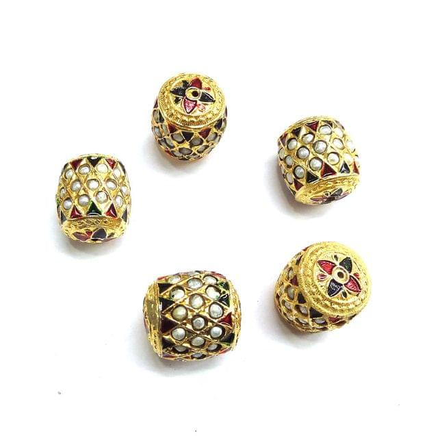 Moti Jadau Dholak Meenakari Beads For Jewellery Making, 4pcs, 20x18mm