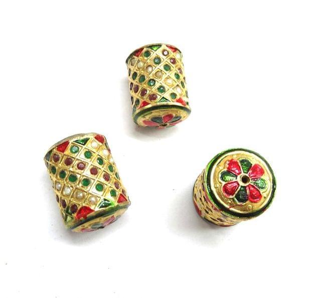 Multi Jadau Dholak Meenakari Beads For Jewellery Making, 4pcs, 29x20mm