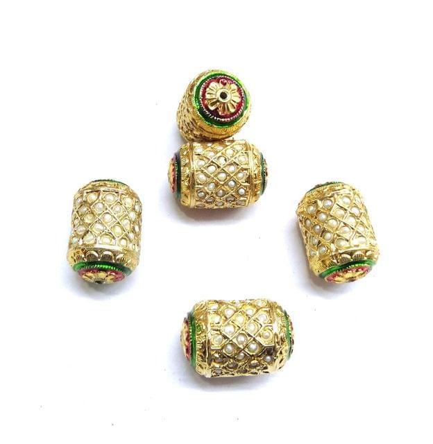 Moti Jadau Dholak Meenakari Beads For Jewellery Making, 4pcs, 28x19mm