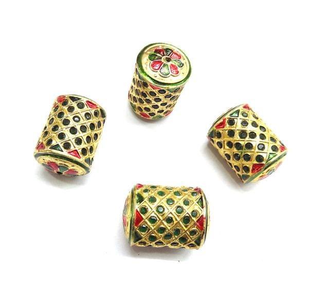Green Jadau Dholak Meenakari Beads For Jewellery Making, 3pcs, 29x20mm