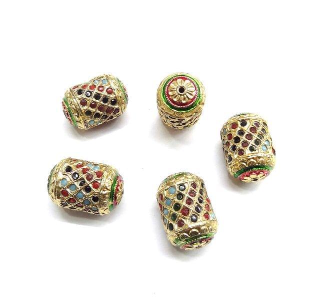 Multi Jadau Dholak Meenakari Beads For Jewellery Making, 4pcs, 28x18mm