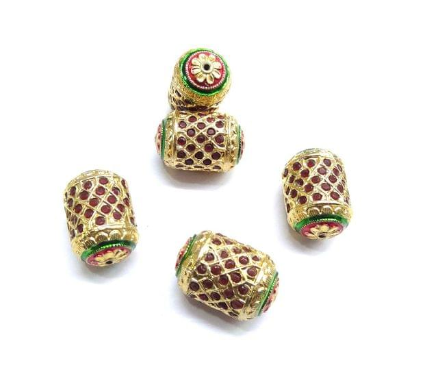 Red Jadau Dholak Meenakari Beads For Jewellery Making, 3pcs, 28x18mm
