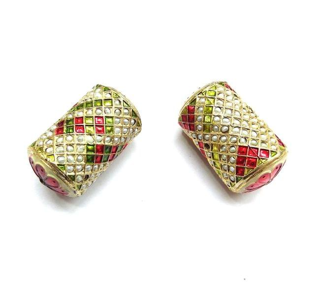 Moti Jadau Cylindrical Meenakari Beads For Jewellery Making, 2pcs, 42x25mm