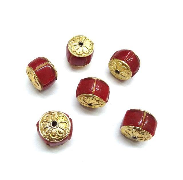 Red Takkar Work Beads For Jewellery Making, 5pcs, 15x16mm