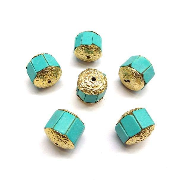 Turquoise Takkar Work Beads For Jewellery Making, 5pcs, 16x16mm
