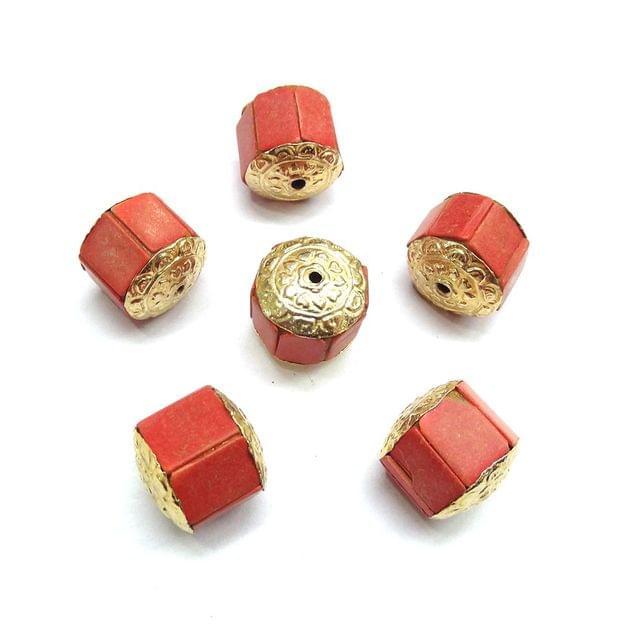 Peach Takkar Work Beads For Jewellery Making, 5pcs, 16x16mm