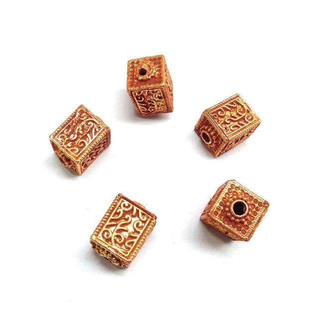 Square Geru Polish Beads For Jewellery Making, 5pcs, 17x12mm