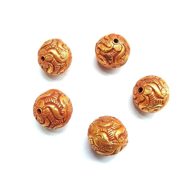 Geru Polish Round Antique Beads For Jewellery Making, 5pcs, 18mm