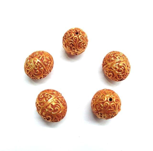 Designer Geru Polish Beads For Jewellery Making, 5pcs, 20x17mm