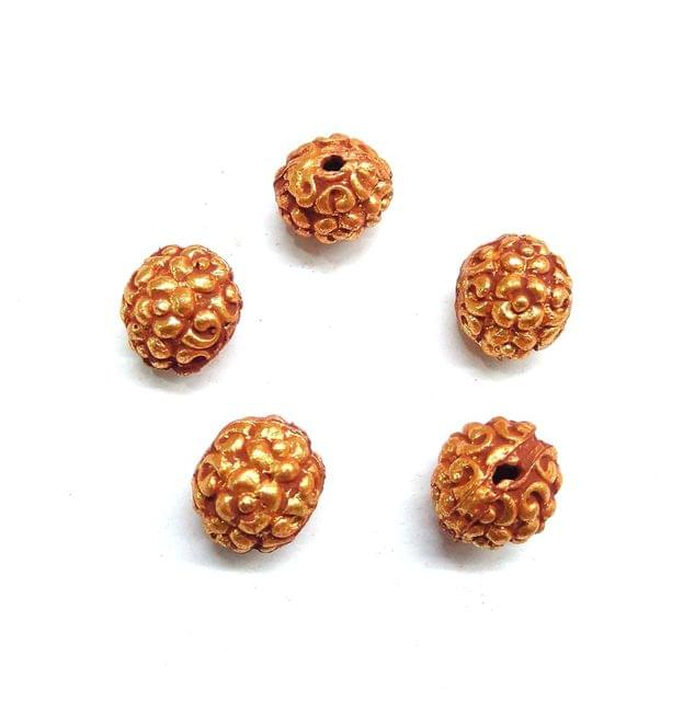 Designer Geru Polish Beads For Jewellery Making, 5pcs, 13x14mm