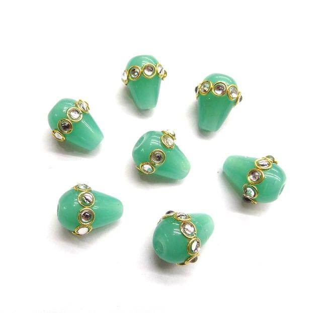 Drop Style Kundan Work Beads For Jewellery Making, 5pcs, 16x12mm