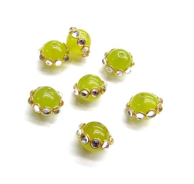 Round Style Kundan Work Beads For Jewellery Making, 5pcs, 10x12mm