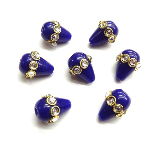 Drop Style Kundan Work Beads For Jewellery Making, 5pcs, 16x12mm