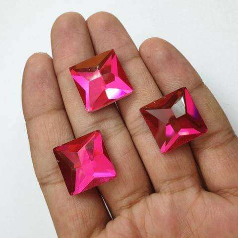 Pink Faceted Flat Back Loose Glass Beads, 6 pcs, 18mm