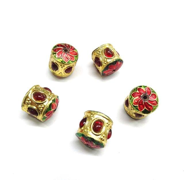 Red Jadau Meenakari Dholk Beads for Jewellery Making, 5pcs, 16x15mm