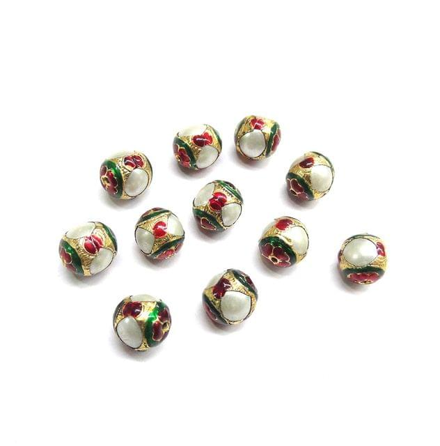 Moti Jadau Meenakari Beads for Jewellery Making,10 Pieces, (9 x 9 mm)
