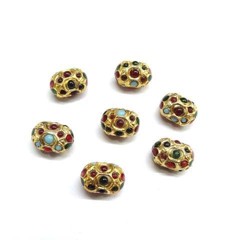 Multi Jadau Meenakari Dholk Beads for Jewellery Making, 5pcs, 13x9mm