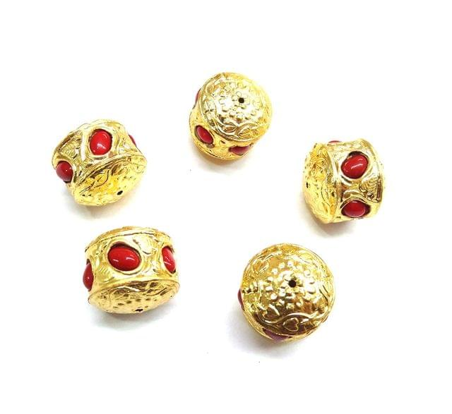 Red Jadau Golden Beads For Jewellery Making, 5pcs, 20mm