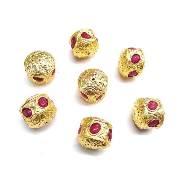 Pink Jadau Golden Beads For Jewellery Making, 4pcs, 20mm