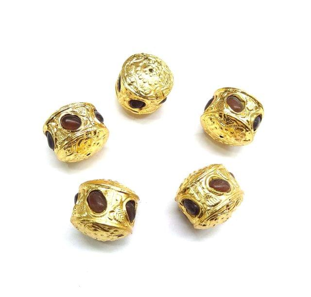 Brown Jadau Golden Beads For Jewellery Making, 4pcs, 20mm