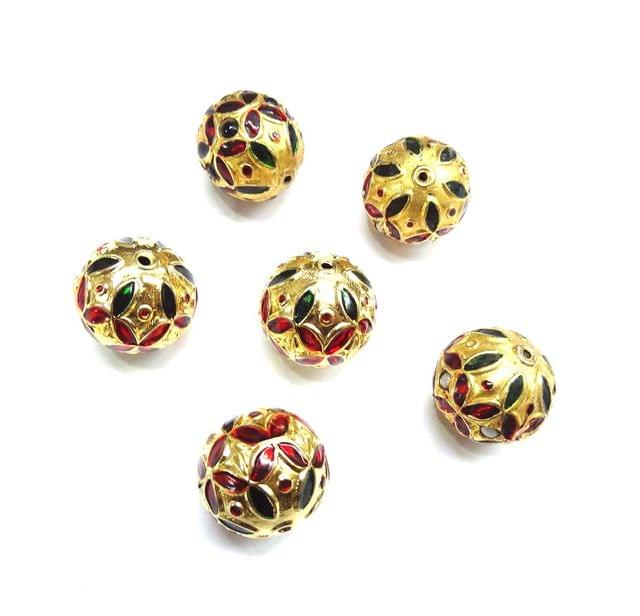 Meenakari Golden Beads For Jewellery Making, 4pcs, 20mm
