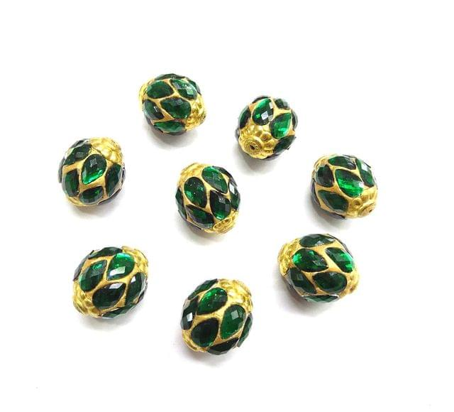 Green Jadau Golden Beads For Jewellery Making, 10pcs, 20x16mm