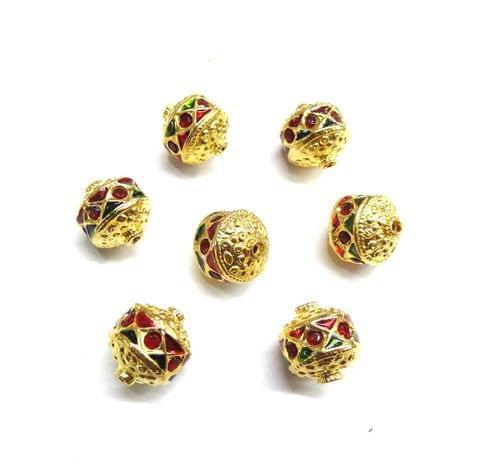 Red Jadau Meenakari Golden Beads For Jewellery Making, 10pcs, 12mm
