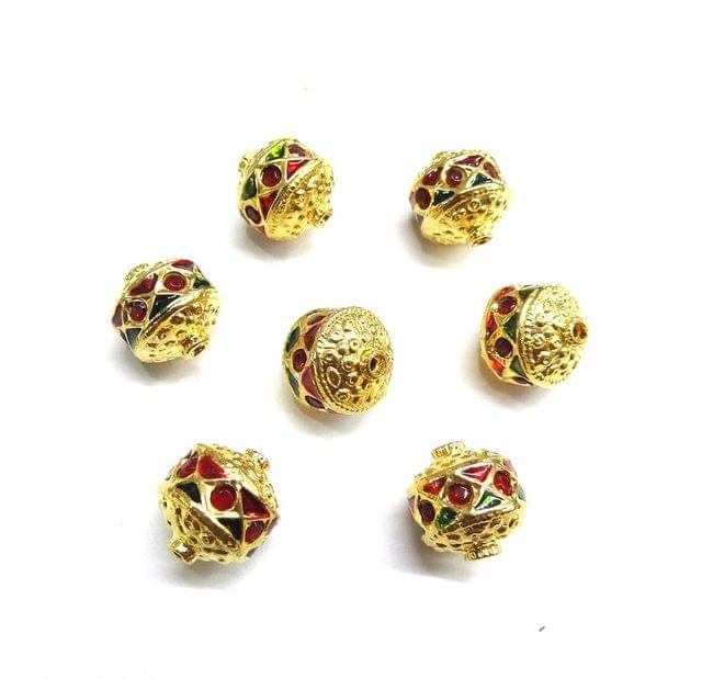 Red Jadau Meenakari Golden Beads For Jewellery Making, 10pcs, 12mm
