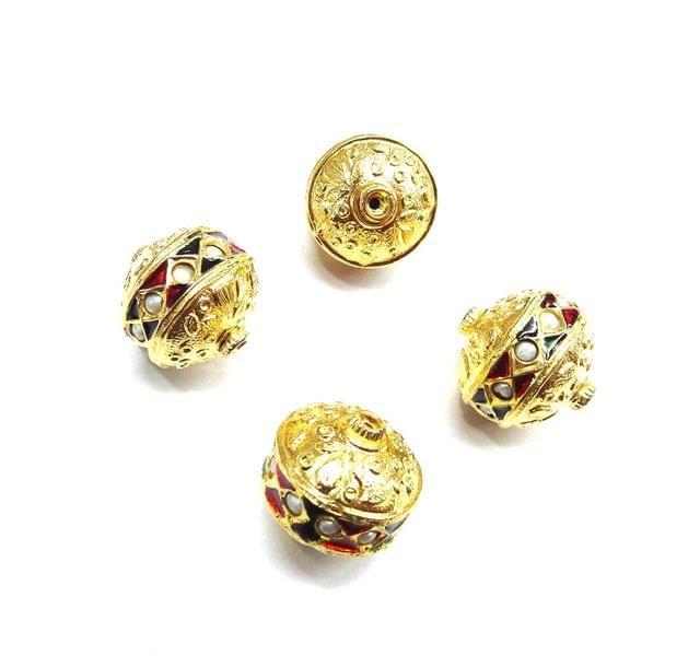 Moti Jadau Meenakari Golden Beads For Jewellery Making, 5pcs, 18mm