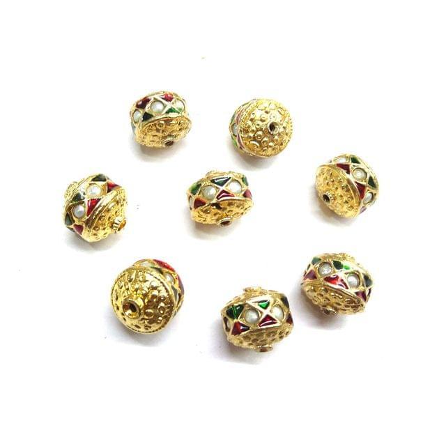 Moti Jadau Meenakari Golden Beads For Jewellery Making, 10pcs, 12mm